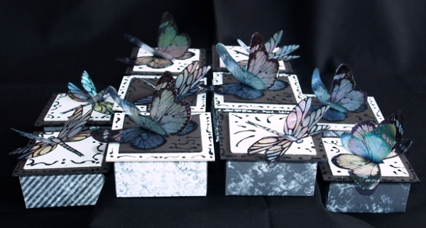 Black and White Butterfly/Dragonfly Boxes