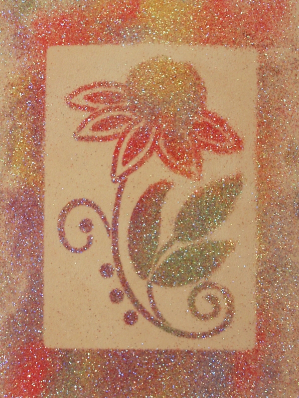 Stencil, Glitter, Spray Glue Technique by Emily M. Miller