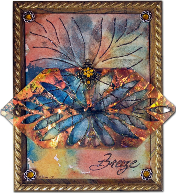 """""""Breeze"""" Fantasy Film, Art Glitter and Stencil Collage by Emily M. Miller"""