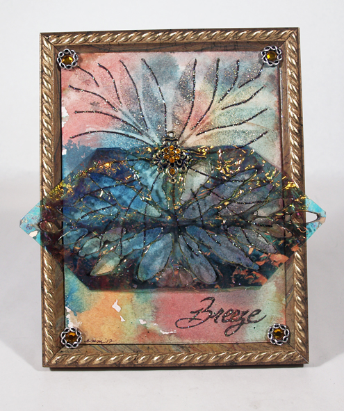 """Breeze"" Fantasy Film, Art Glitter and Stencil Collage by Emily M. Miller"