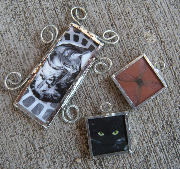 Emily M. Miller's moo cards as soldered charms